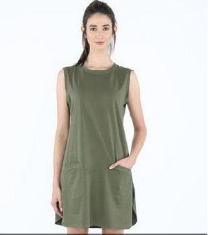 Army Green Pocket Sleeveless T-Shirt Dress