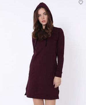 Burgundy Fleece Hoodies Dress