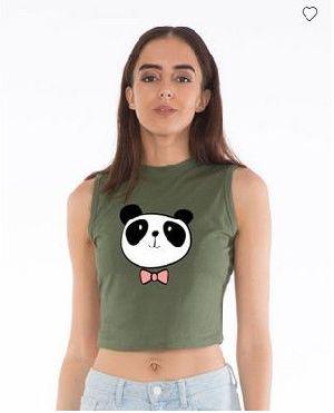 Dressy Panda Cropped Tank Top