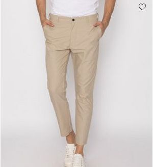 French Beige Slim Oxford Pants