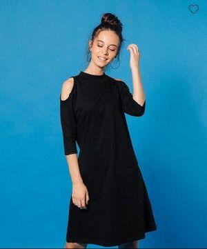 Jet Black Cold Shoulder T-Shirt Dress