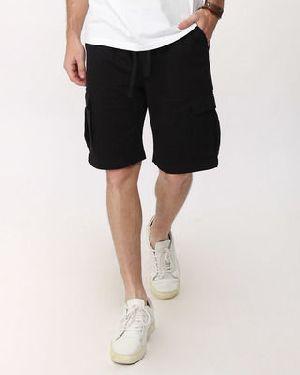 Jet Black Fleece Cargo Pocket Shorts