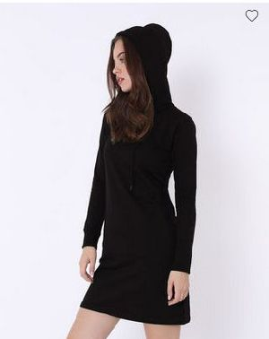 Jet Black Fleece Hoodie Dress