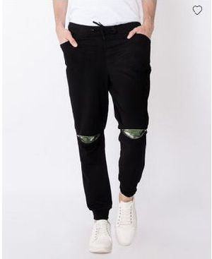 Jet Black Knee Zipper Jogger