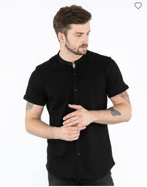 Jet Black Mandarin Collar Pique Shirt