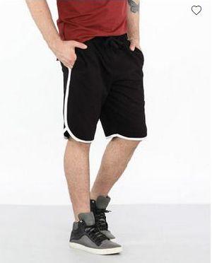 Jet Black-White Runner Fleece Shorts