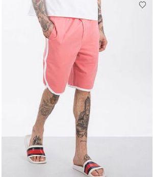Millennial Pink-White Runner Fleece Shorts