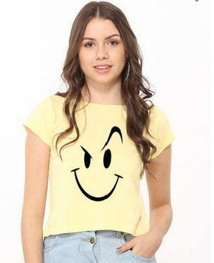 Naughty Smiley Pique Cropped Top