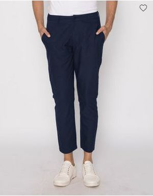 Navy Blue Slim Oxford Pants