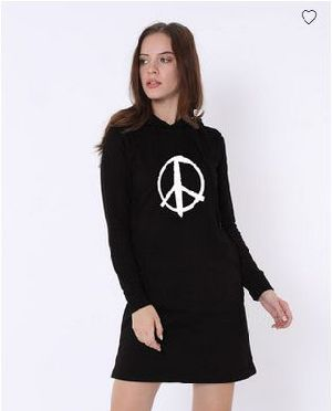 Peace Symbol Fleece Hoodie Dress