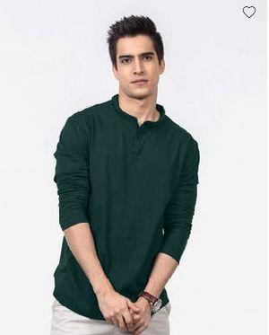 Pine Green Henley Full Sleeve T-Shirt