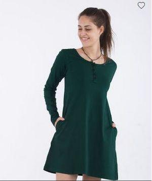 Pine Green Henley T-Shirt Dress