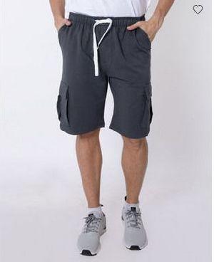 Stone Grey Fleece Cargo Pocket Shorts