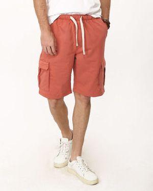 Terracota Orange Fleece Cargo Pocket Shorts