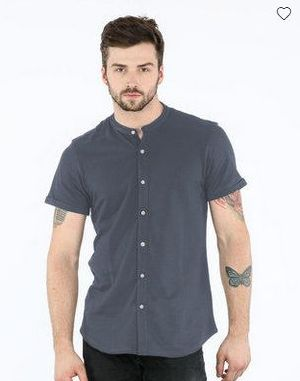 Urban Grey Mandarin Collar Pique Shirt