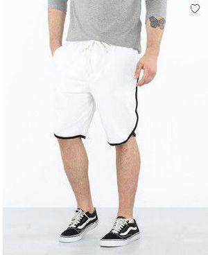 White-Jet Black Runner Fleece Shorts