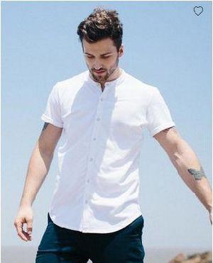White Mandarin Collar Pique Shirt
