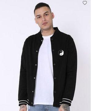 Yin Yang Varsity Buttoned Bomber Jacket