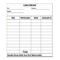 Cash Memo Book