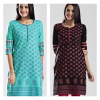 Cotton Slub Kurta with Screenprint and Embroidery