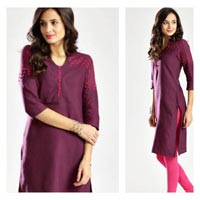 Purple Cotton Flex Kurti with Embroidery