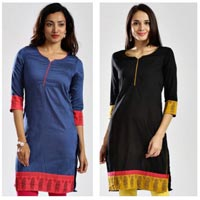 Slubsilk Kurta with Screenprint