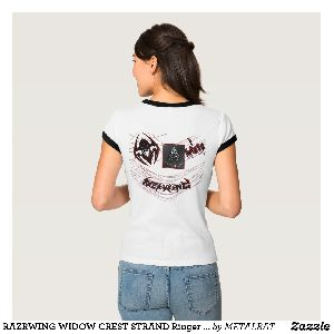 Ladies Widow Crest Strand Ringer T-Shirts