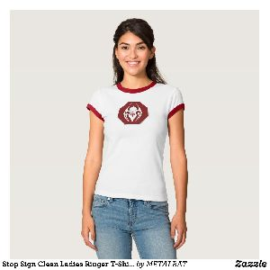 Ladies Stop Sign Clean Ringer T-Shirts