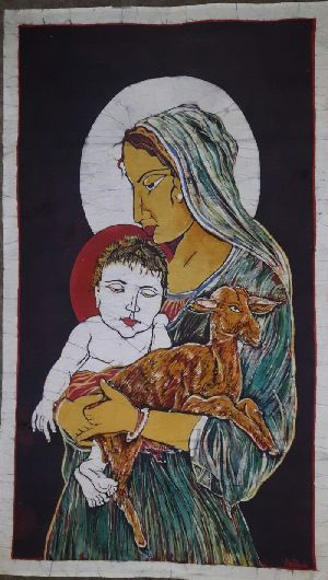 Mother Mary With Baby Jesus Painting 01