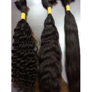 Non Remy Double Drawn Black Hair