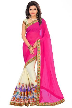georgette embroidery sarees