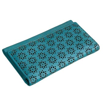 L-5054 C Ladie Purse Nappa Leather Turquoise