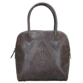 L-5180 Hand Bag Distress Leather Dark Green
