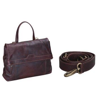 L-5183 Shoulder Bag Pull Up Leather - dark Brown