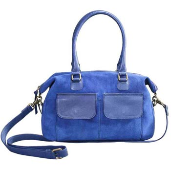 L-5220 Shoulder Bag Suede & Nappa Leather Blue