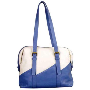 L-5239 Hand Bag Nappa Leather Blue & White