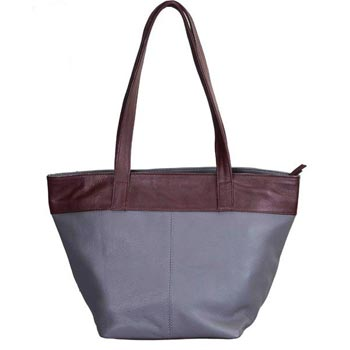 L-5410 G Hand Bag Nappa Leather Grey & Wine Red