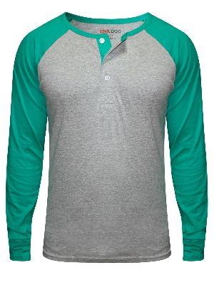 Mens Full Sleeve Henley Neck T-Shirts