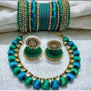 Silk Thread Necklace Set 01