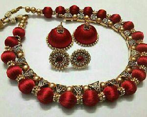 Silk Thread Necklace Set 03