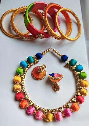 Silk Thread Necklace Set 07
