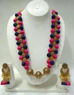 Silk Thread Necklace Set 08
