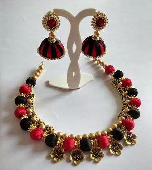 Silk Thread Necklace Set 09