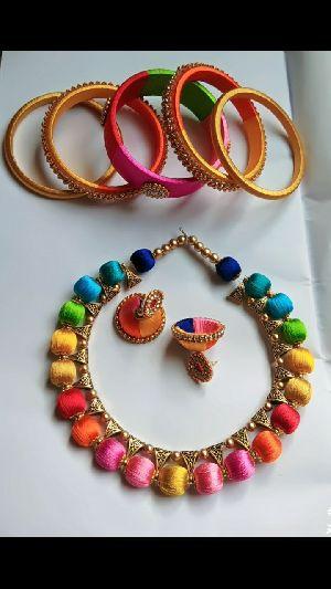 Silk Thread Necklace Set 12