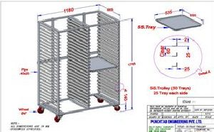 Clean Room Soft Gelatin Tray Trolley