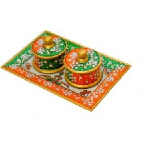 2 Bowl tray set with green and orange color painting