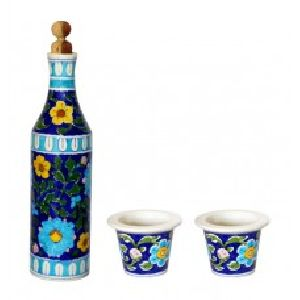 Blue pottery Wine / claret Bottle with two glasses