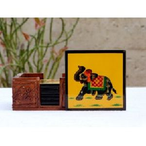Elephant Painting Tea / Coffee Coaster with Stand
