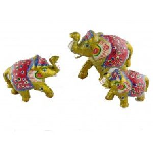 Elephant Set of Three with artistic painting of Rajasthan