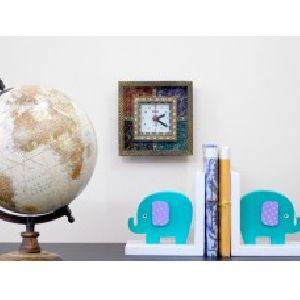 Gemstone Square Shape Wooden Wall Clock